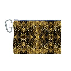 Beautiful Gold Brown Traditional Pattern Canvas Cosmetic Bag (M)