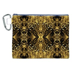 Beautiful Gold Brown Traditional Pattern Canvas Cosmetic Bag (XXL)