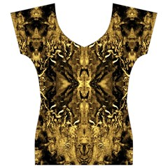 Beautiful Gold Brown Traditional Pattern Women s V-Neck Cap Sleeve Top