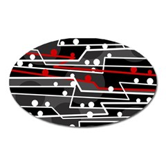 Stay in line Oval Magnet