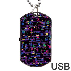 Purple galaxy Dog Tag USB Flash (One Side)