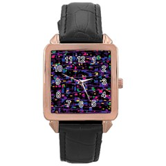 Purple galaxy Rose Gold Leather Watch