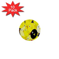 Yellow flock 1  Mini Buttons (10 pack)