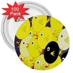 Yellow flock 3  Buttons (100 pack)