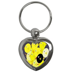 Yellow flock Key Chains (Heart)