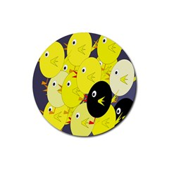 Yellow flock Rubber Round Coaster (4 pack)