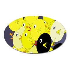 Yellow flock Oval Magnet