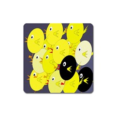 Yellow flock Square Magnet