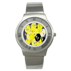 Yellow flock Stainless Steel Watch