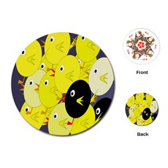 Yellow flock Playing Cards (Round)