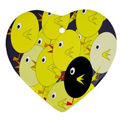 Yellow flock Heart Ornament (2 Sides)