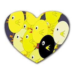 Yellow flock Heart Mousepads