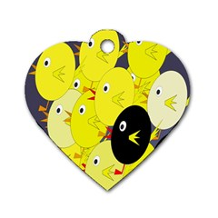 Yellow flock Dog Tag Heart (Two Sides)