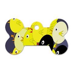 Yellow flock Dog Tag Bone (One Side)