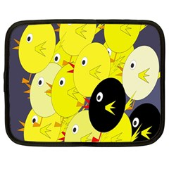 Yellow flock Netbook Case (Large)