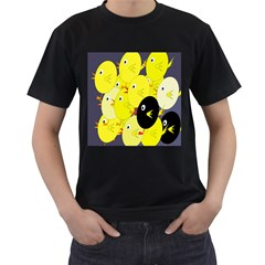 Yellow flock Men s T-Shirt (Black)