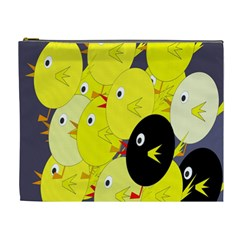 Yellow flock Cosmetic Bag (XL)