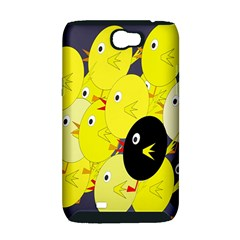 Yellow flock Samsung Galaxy Note 2 Hardshell Case (PC+Silicone)