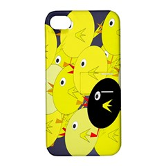 Yellow flock Apple iPhone 4/4S Hardshell Case with Stand