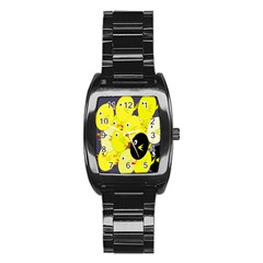 Yellow flock Stainless Steel Barrel Watch