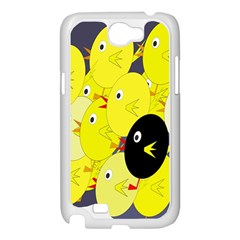 Yellow flock Samsung Galaxy Note 2 Case (White)