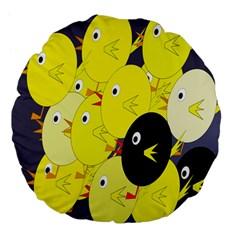Yellow flock Large 18  Premium Flano Round Cushions