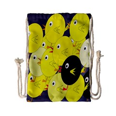 Yellow flock Drawstring Bag (Small)