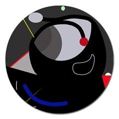 Gray bird Magnet 5  (Round)