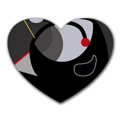 Gray bird Heart Mousepads
