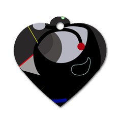 Gray bird Dog Tag Heart (Two Sides)