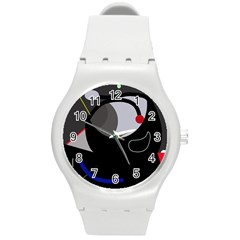 Gray bird Round Plastic Sport Watch (M)