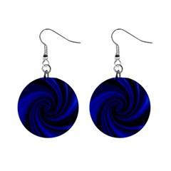 Blue decorative twist Mini Button Earrings