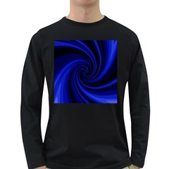 Blue decorative twist Long Sleeve Dark T-Shirts