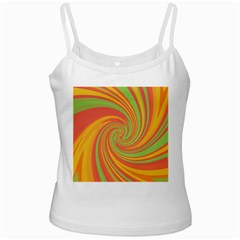 Green and orange twist White Spaghetti Tank