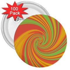 Green and orange twist 3  Buttons (100 pack)