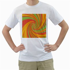 Green and orange twist Men s T-Shirt (White) (Two Sided)