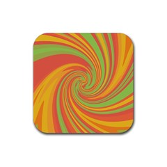 Green and orange twist Rubber Square Coaster (4 pack)