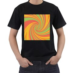Green and orange twist Men s T-Shirt (Black) (Two Sided)