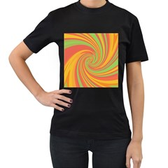 Green and orange twist Women s T-Shirt (Black) (Two Sided)