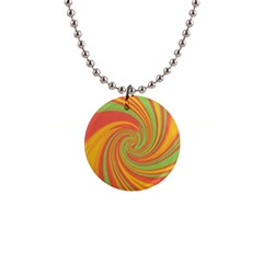 Green and orange twist Button Necklaces