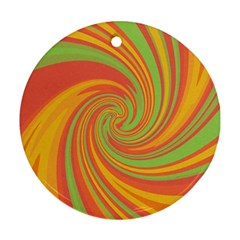 Green and orange twist Round Ornament (Two Sides)