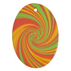 Green and orange twist Oval Ornament (Two Sides)