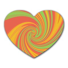 Green and orange twist Heart Mousepads