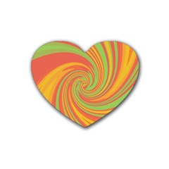 Green and orange twist Rubber Coaster (Heart)