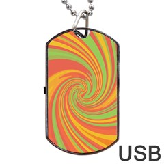 Green and orange twist Dog Tag USB Flash (One Side)