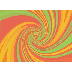 Green and orange twist Birthday Cake 3D Greeting Card (7x5)