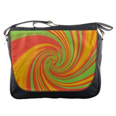 Green and orange twist Messenger Bags
