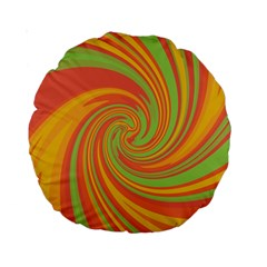Green and orange twist Standard 15  Premium Round Cushions
