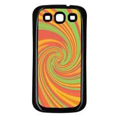 Green and orange twist Samsung Galaxy S3 Back Case (Black)