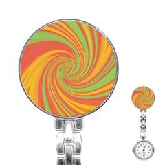 Green and orange twist Stainless Steel Nurses Watch